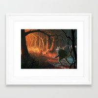 red riding hood Framed Art Prints featuring Little red riding hood by Nicolas Villeminot