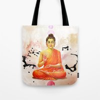 buddha Tote Bags featuring Buddha by O. Be