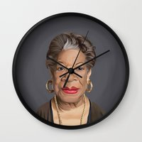 celebrity Wall Clocks featuring Celebrity Sunday ~ Maya Angelou by rob art | illustration