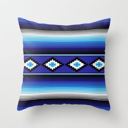 Modern Mexican Serape in Blue Throw Pillow