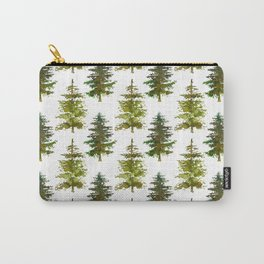 Hand painted green forest green watercolor trees motif Carry-All Pouch