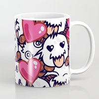 league of legends Mugs featuring League of Legends Poro Party by SylvieW