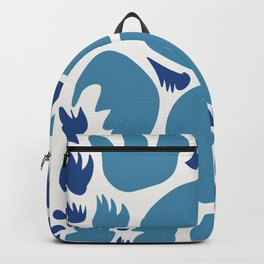 Abstract Blue Sea Pattern Illustration Decoration French Art Backpack