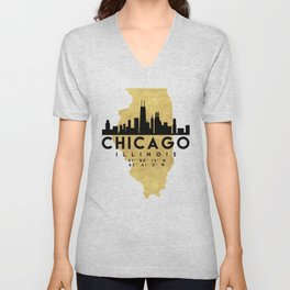 CHICAGO ILLINOIS SILHOUETTE SKYLINE MAP ART Unisex V-Neck