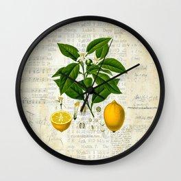 Lemon Botanical print on antique almanac collage Wall Clock