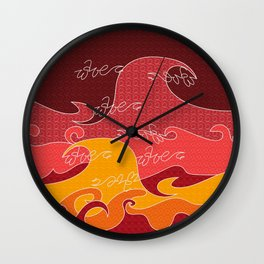 Waves V red colors All Over Print Shirts V2 Wall Clock