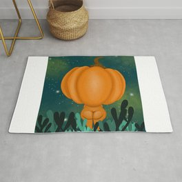 Pumpkin Late night stroll Rug