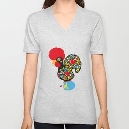 Rooster of Barcelos | Portuguese Lucky Charm Unisex V-Neck