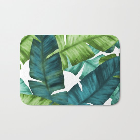 Tropical Banana Leaves Unique Pattern Bath Mat