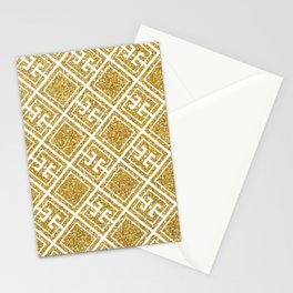 Gold Glitter Greek Pattern Stationery Cards