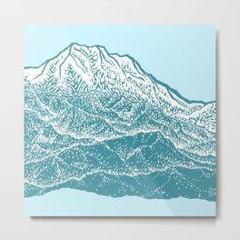 Distant Snow- 遠雪 : linocut Metal Print