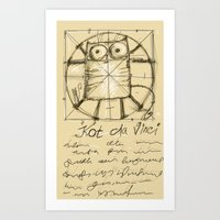 da vinci Art Prints featuring Kot da Vinci by Katja Main