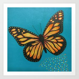 Magical Butterfly on Teal Art Print