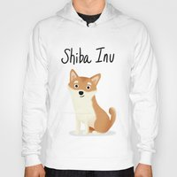 shiba inu Hoodies featuring Shiba Inu - Cute Dog Series by Cassandra Berger