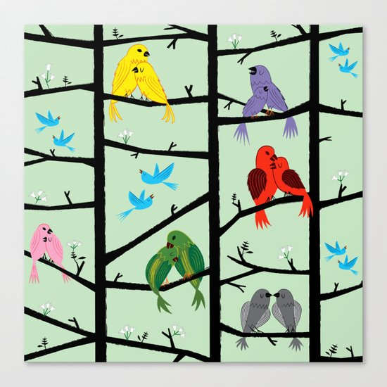 The Lovebirds Canvas Print