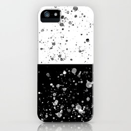 Black and White Splatter Watercolor on Black and White Horizontal Blocks iPhone Case