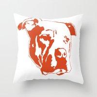 pitbull Throw Pillows featuring COACH - ORANGE by Kirk Scott