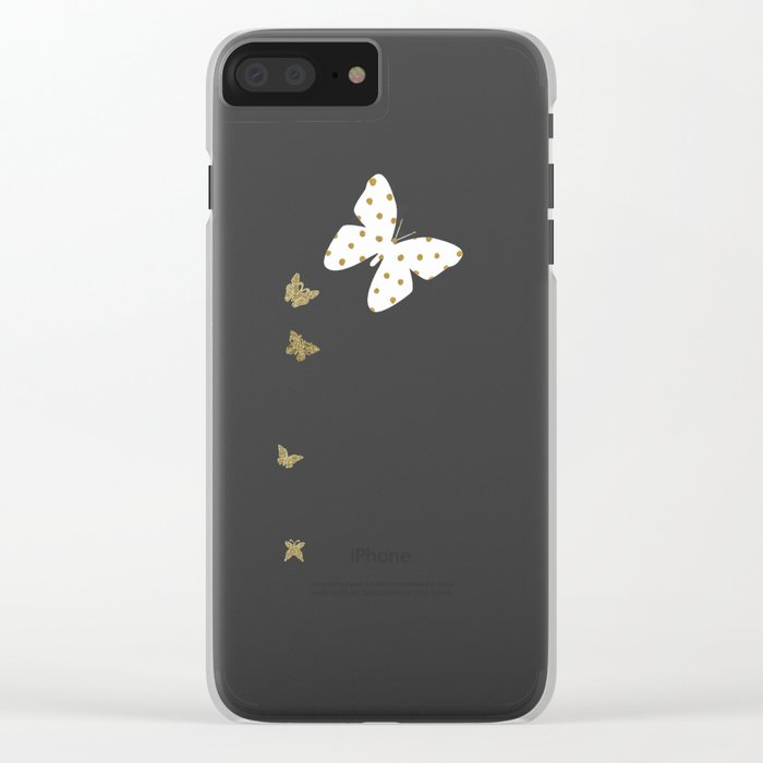 Golden touch II - Gold glitter polka dots Clear iPhone Case
