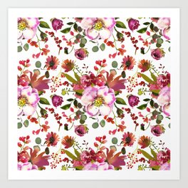 Gentle Pink and Coral Peony Bouquets on White  Art Print