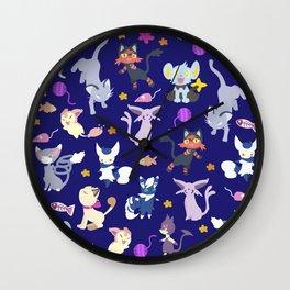 Cats - Blue Wall Clock