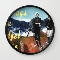 postcard Wall Clocks featuring Vintage Postcard by Bridget Beorse
