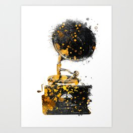 Gramophone music art #gramophone #music Art Print