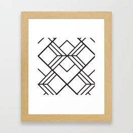 Geometrical modern black abstract diamond stripes pattern Framed Art Print
