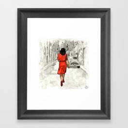 Woman in Red Dress Framed Art Print