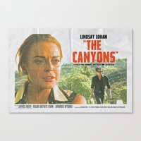 "lindsay lohan Canvas Prints featuring Lindsay Lohan ""The Canyons"" Retro Film Poster by Eric Terino"