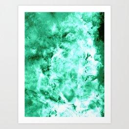 Sea Green Nebula Waves Art Print
