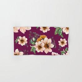 Brown Flowers Bold Pattern Purple Background Hand & Bath Towel