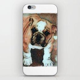 English Bulldog Puppy with Hearts iPhone Skin