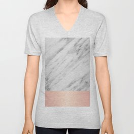Real Italian Marble and Pink Unisex V-Neck