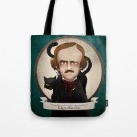 edgar allan poe Tote Bags featuring Edgar Allan Poe said... by Mrs Peggotty