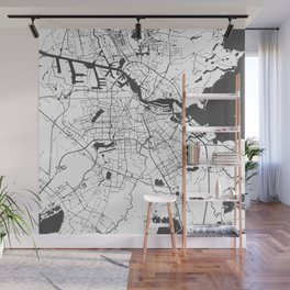 Amsterdam White on Gray Street Map Wall Mural