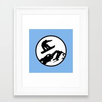 snowboarding Framed Art Prints featuring snowboarding 1 by Paul Simms