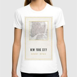 Vintage New York City Gold Foil Location Coordinates with map T-shirt