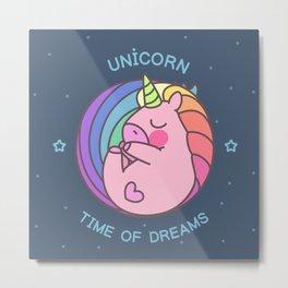 Sleeping cute unicorn Metal Print