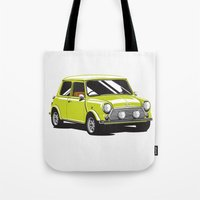 mini cooper Tote Bags featuring Mini Cooper Car - Chartreuse by C Barrett