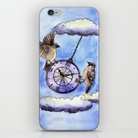 clock iPhone & iPod Skins featuring Clock by Anna Shell