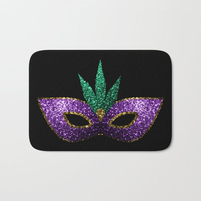Mardi Gras Mask Purple Green Gold Sparkles Bath Mat