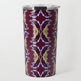 Yellow Burgundy Ornament Baroque Damask Pattern Travel Mug