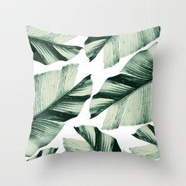 Tropical Banana Leaves Vibes #1 #foliage #decor #art #society6 Throw Pillow