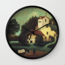 Wagon in front of the mill by Henri Rousseau Wall Clock