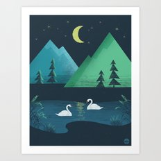 Moonlight Swim Art Print
