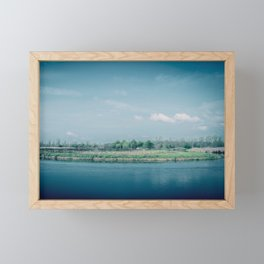 River Bank with morning fog and clouds in the sky Framed Mini Art Print