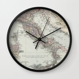Vintage Map of Italy (1878) Wall Clock