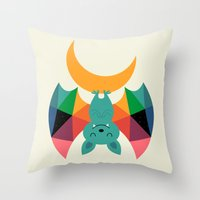 child Throw Pillows featuring Moon Child by Andy Westface