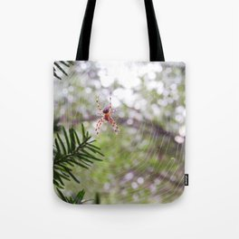 orb weaver spider and bokeh Tote Bag