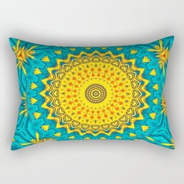 Birds of Paradise Circular Geometric Blended Floral Pattern \\ Yellow Green Blue Teal Color Scheme Rectangular Pillow